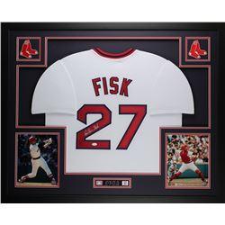 """Carlton Fisk Signed Red Sox 35"""" x 43"""" Custom Framed Jersey (JSA COA)"""