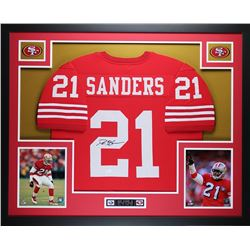 Deion Sanders Signed 49ers 35  x 43  Custom Framed Jersey (JSA COA)