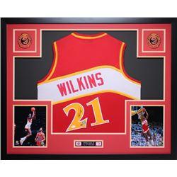 Dominique Wilkins Signed Hawks 35  x 43  Custom Framed Jersey (JSA COA)