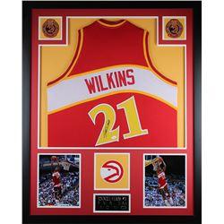 """Dominique Wilkins Signed Hawks 35"""" x 43"""" Custom Framed Jersey (JSA COA)"""