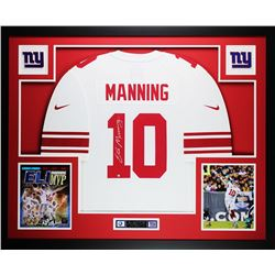 """Eli Manning Signed Giants 35"""" x 43"""" Custom Framed Jersey (Steiner COA)"""