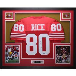 Jerry Rice Signed 49ers 35  x 43  Custom Framed Jersey (TriStar)