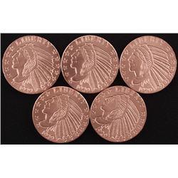 Lot of (5) 1 oz. .999 Fine Copper Incuse Indian Bullion Round