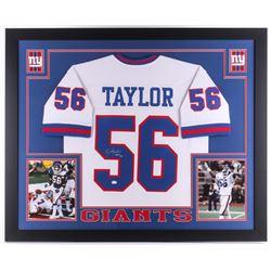 "Lawrence Taylor Signed Giants 35x43 Custom Framed Jersey Inscribed ""HOF 99"" (JSA COA)"