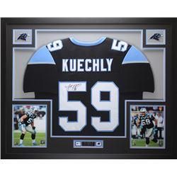 Luke Kuechly Signed Panthers 35  x 43  Custom Framed Jersey (JSA COA)