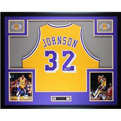 Magic Johnson Signed Lakers 35x43 Custom Framed Jersey (PSA COA)