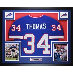 "Thurman Thomas Signed Bills 35"" x 43"" Custom Framed Jersey (JSA COA)"