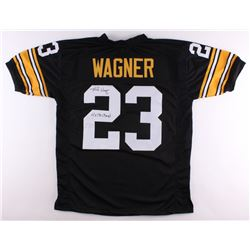 """Mike Wagner Signed Steelers Jersey Inscribed """"4x SB Champ's"""" (TSE Hologram)"""