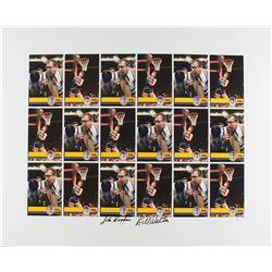 John Wooden  Bill Walton Dual Signed UCLA Uncut Trading Card Sheet (JSA COA)