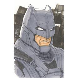 """Tom Hodges - Batman """"Batman V Superman"""" Signed ORIGINAL 5.5"""" x 8.5"""" Color Drawing on Paper (1/1)"""