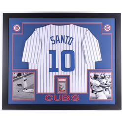 Ron Santo Signed Cubs 35x43 Custom Framed Display With Jersey  Signed Baseball Card (PSA Authentic)