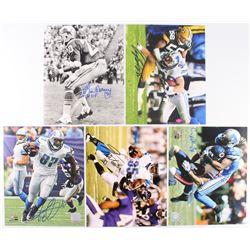 Lot of (5) Detroit Lions Signed 8x10 Photos with Lem Barney, Cory Schlesinger, Louis Delmas, Brandon