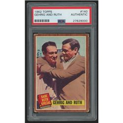 1962 Topps #140 Babe Ruth Special 6/Gehrig and Ruth (PSA Authentic)