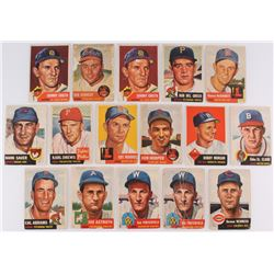 Lot of (16) 1953 Topps Baseball Cards with #36 Johnny Groth, #108 Bob Porterfield, #98 Cal Abrams, #