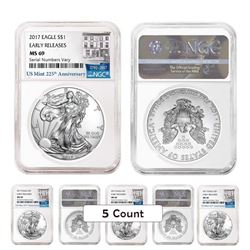 Lot of (5) 2017 1 oz Silver American Eagle $1 Coins - Early Releases (225th Anniversary Label) (NGC