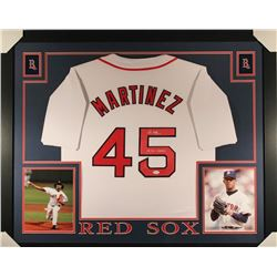 "Pedro Martinez Signed Red Sox 35x43 Custom Framed Jersey Inscribed ""04 WS Champs"" (JSA COA)"