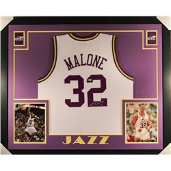 Karl Malone Signed Jazz 35x43 Custom Framed Jersey (Beckett COA)