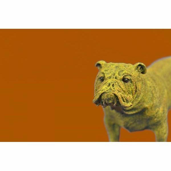 Signed Original Milo English Bulldog Dog Pet Bronze Sculpture Yellow Patina Gift