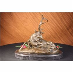 Bronze Marble Statue Elk Hunter Buck Stag trophy Lodge