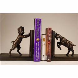 PAIR RARE BRONZE BOOKENDS SCULPTURE STATUE