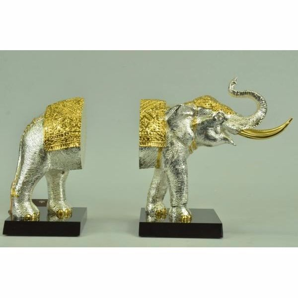 24K Gold and Silver Plated Elephant Bookends Bronze Sculpture