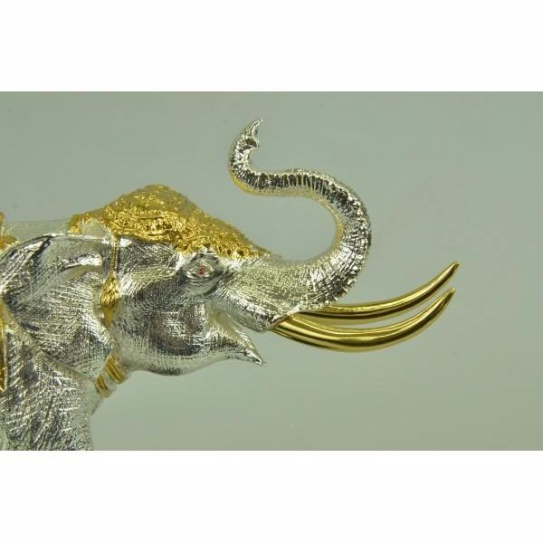 24K Gold and Silver Plated Elephant Bookends Bronze