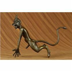 Collector Edition Signed Satyr Faun Devil Devilish Bronze Sculpture Figure