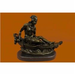 Art Sculptures Handcrafted Superb Artwork Sport Of Canoeing Bronze Sculpture Statue Figure Gift