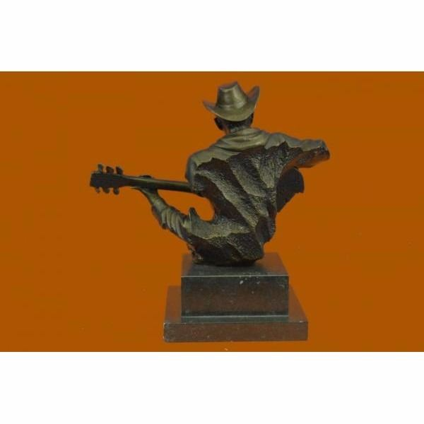 Guitar Player Jazz Bronze Figurine Hand Made by Lost Wax Method Sculpture Statue