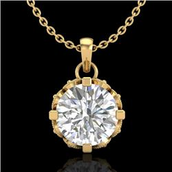 1.14 CTW VS/SI Diamond Art Deco Stud Necklace 18K Yellow Gold - REF-205Y5N - 36844