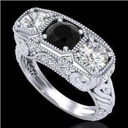 2.51 CTW Fancy Black Diamond Solitaire Art Deco 3 Stone Ring 18K White Gold - REF-309H3W - 37716