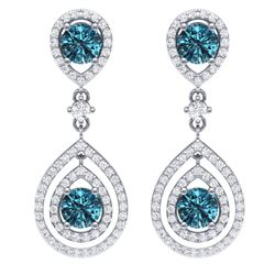 3.94 CTW Royalty Fancy Blue, SI Diamond Earrings 18K White Gold - REF-336R4K - 39114