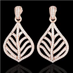 2.50 CTW Micro Pave VS/SI Diamond Certified Earrings Designer 14K Rose Gold - REF-185H3W - 21150