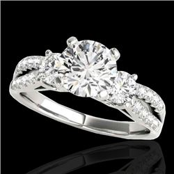 1.75 CTW H-SI/I Certified Diamond 3 Stone Ring 10K White Gold - REF-216M4F - 35412