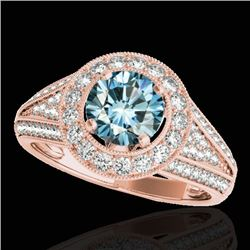 2.17 CTW SI Certified Fancy Blue Diamond Solitaire Halo Ring 10K Rose Gold - REF-272M8F - 33982