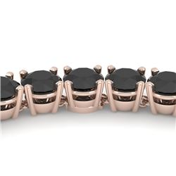 40 CTW Certified Black VS Diamond Necklace 14K Rose Gold - REF-1400M2F - 38508