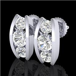 2.18 CTW VS/SI Diamond Solitaire Art Deco Stud Earrings 18K White Gold - REF-300F2M - 37010