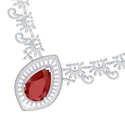65.75 CTW Royalty Ruby & VS Diamond Necklace 18K White Gold - REF-1581T8X - 39777