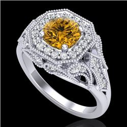 1.75 CTW Intense Fancy Yellow Diamond Engagement Art Deco Ring 18K White Gold - REF-236R4K - 38281