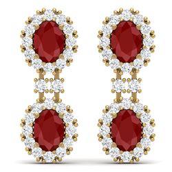 8.98 CTW Royalty Designer Ruby & VS Diamond Earrings 18K Yellow Gold - REF-218X2T - 38813