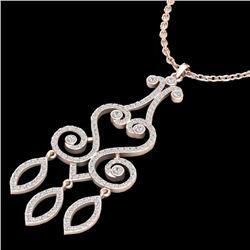 1.60 CTW VS/SI Diamond Certified Micro Pave Designer Necklace 14K Rose Gold - REF-138W5H - 22420