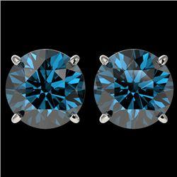 4 CTW Certified Intense Blue SI Diamond Solitaire Stud Earrings 10K White Gold - REF-824R2K - 33137