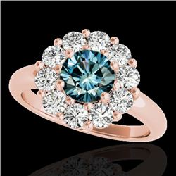 2.85 CTW SI Certified Fancy Blue Diamond Solitaire Halo Ring 10K Rose Gold - REF-309Y3N - 34438
