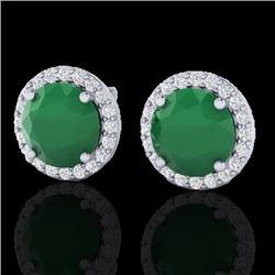 4 CTW Emerald & Halo VS/SI Diamond Micro Pave Earrings Solitaire 18K White Gold - REF-80X2T - 21491