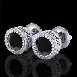1.09 CTW Fancy Black Diamond Solitaire Art Deco Stud Earrings 18K White Gold - REF-63R6K - 37478
