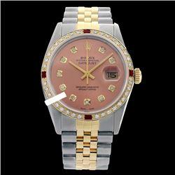 Rolex Men's Two Tone 14K Gold/SS, QuickSet, Diam Dial & Diam/Ruby Bezel - REF-474Y5X