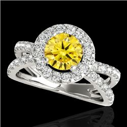 2.01 CTW Certified Si Fancy Intense Yellow Diamond Solitaire Halo Ring 10K White Gold - REF-209K3R -