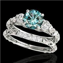 1.35 CTW SI Certified Fancy Blue Diamond 3 Stone Set 10K White Gold - REF-174T5X - 35435