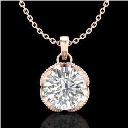 1.13 CTW VS/SI Diamond Solitaire Art Deco Stud Necklace 18K Rose Gold - REF-217R3K - 36864