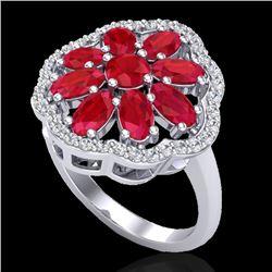 4 CTW Ruby & VS/SI Diamond Certified Cluster Designer Halo Ring 10K White Gold - REF-63F8M - 20784
